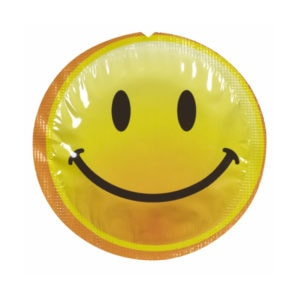 exs smiley faces condom foil